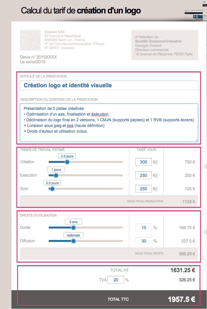 Comment calculer le tarif de cr ation d 39 un logo blog - Duree de validite d un devis ...