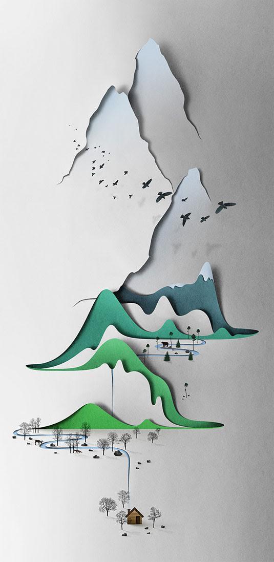 paysage montagne decoupe papier