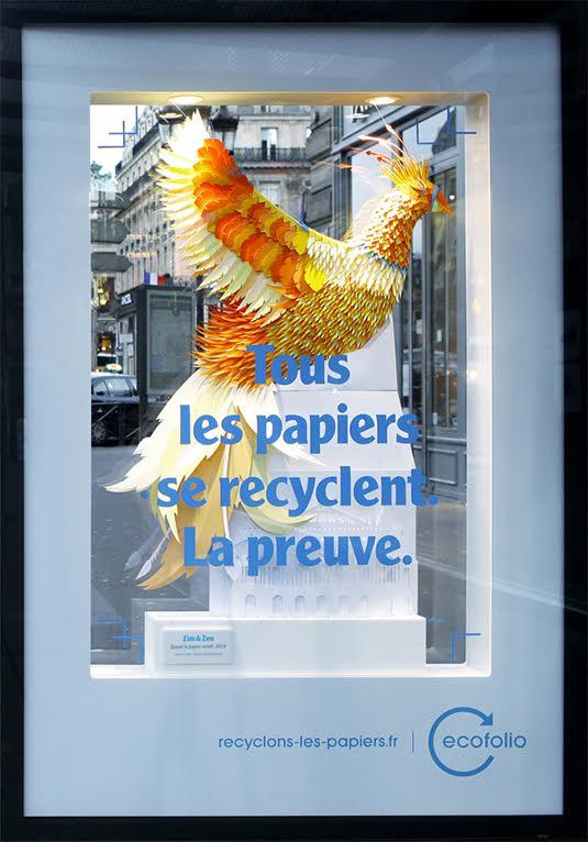 sculpture papier oiseau