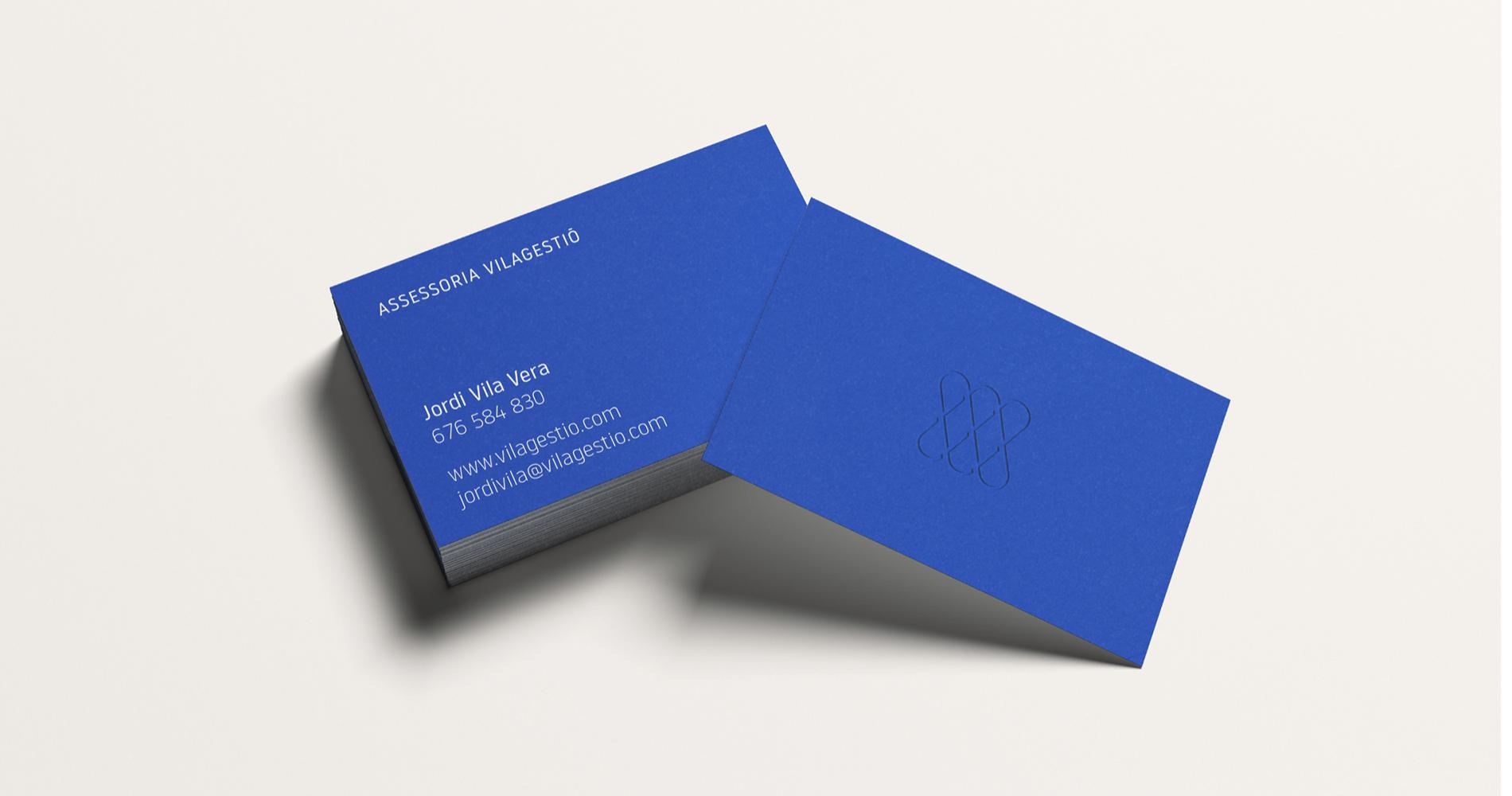 Carte de visite couleur bleue électrique