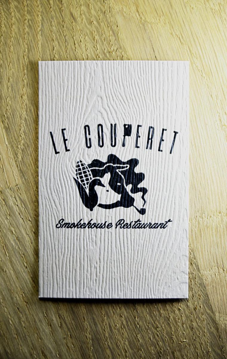 carte de visite restaurant couperet par l'agence riz blanc