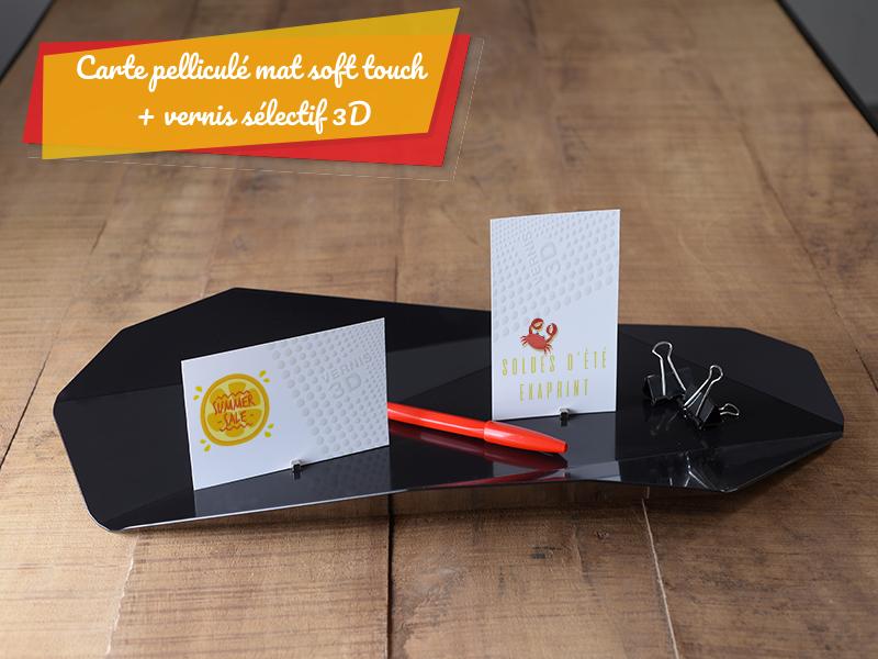 carte de visite pelliculé soft touch et vernis 3d sélectif soldes