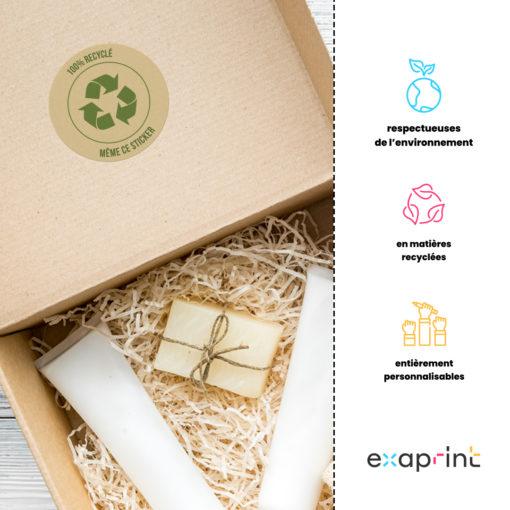emballage avec sticker recyclé