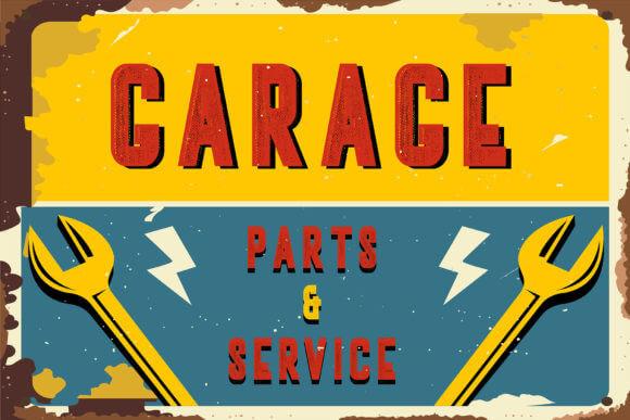 typographie nozty enseigne garage