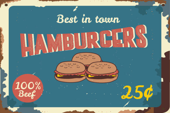 typo vintage hamburger