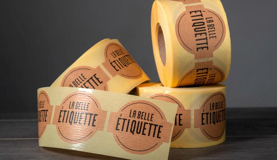 sticker étiquette en rouleau papier kraft