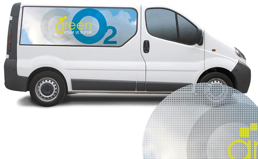 vinyle adhesif micro perfore vehicule