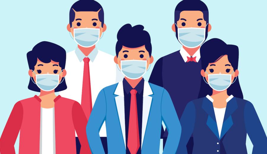 groupe de personnes avec masque de protection