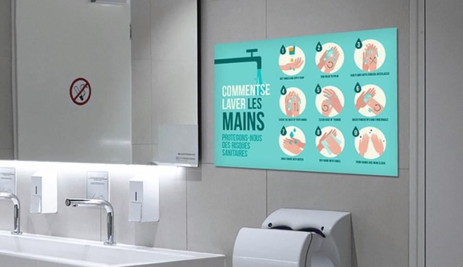 panneau signaletique covid-19 bien se laver les mains