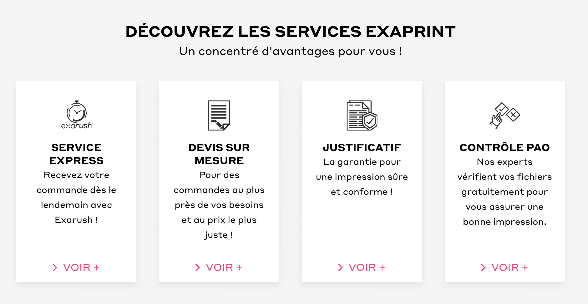 presentation service exaprint page d'accueil