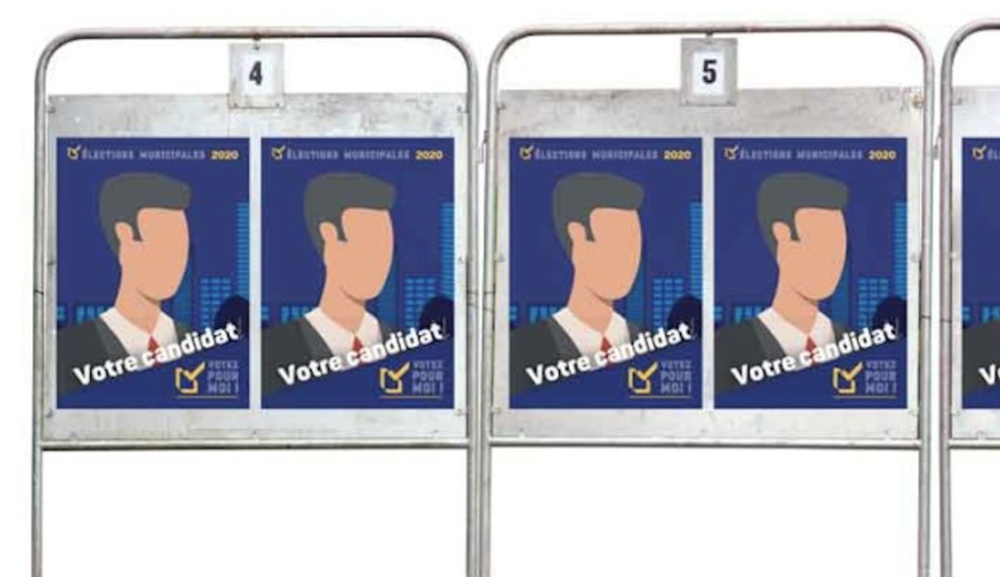 affiches dos bleu pour élections municipales