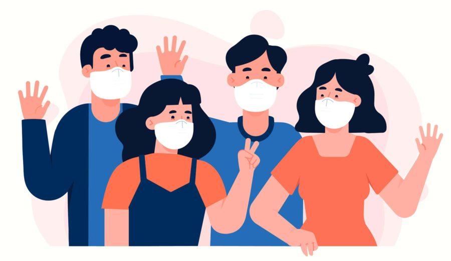 personnes avec masque deconfinement