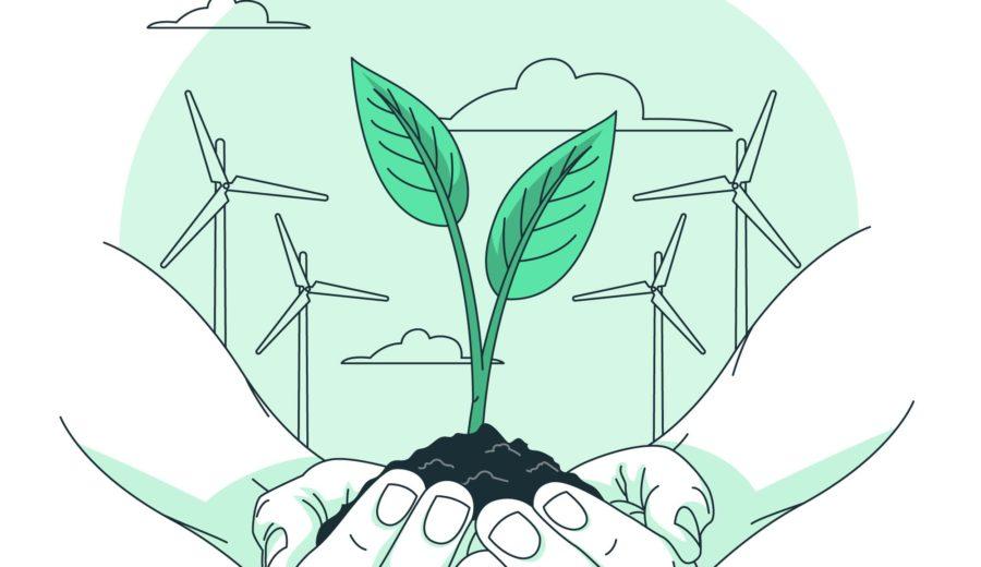 mains jointes avec plante et éoliennes