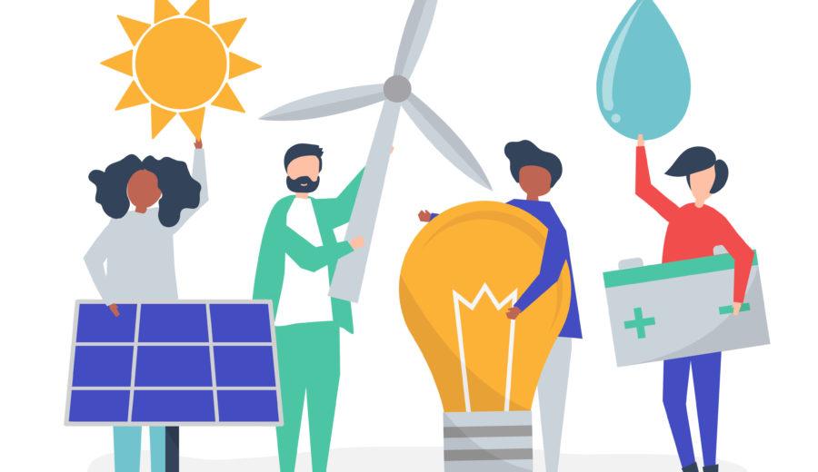 personnes tenant dans leur mains des éolienne, soleil, goutte d'eau, ampoule et panneau photovoltaïque